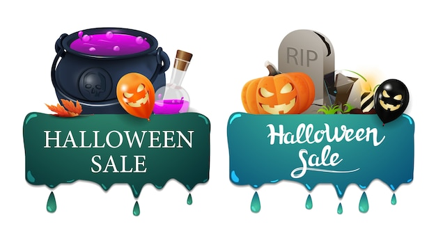 Halloween sale banner, two banners with drips, witch's cauldron and tombstone