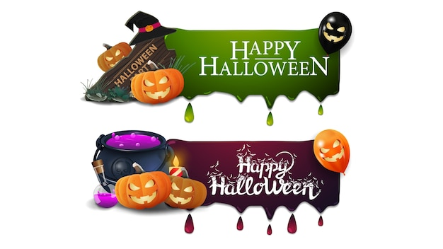 Halloween sale banner, two banners with drips, wooden sign, witch's cauldron and pumpkin jack