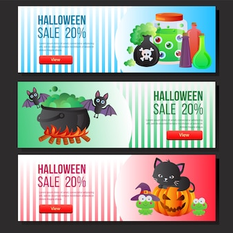 Halloween sale banner web set magic potion