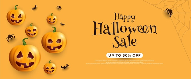 Хэллоуин распродажа баннер с летучими мышами и тыквой