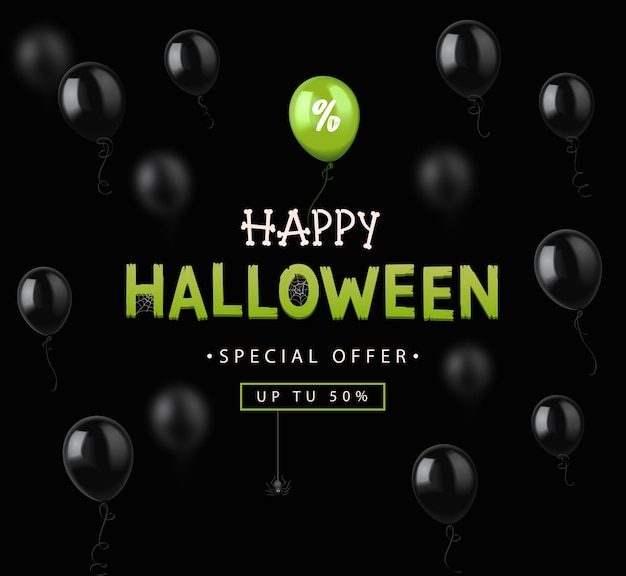 Halloween sale  banner with colorful balloons.