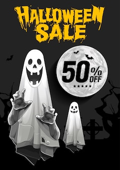 Halloween sale banner with ghost on night