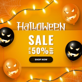 Halloween sale banner with halloween air balloons, garland lights on orange