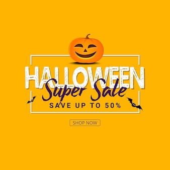 Halloween sale banner with holiday symbols pumpkin and ghost.