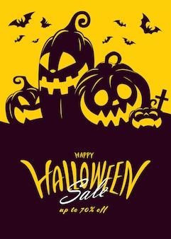 Halloween sale banner with lettering design.