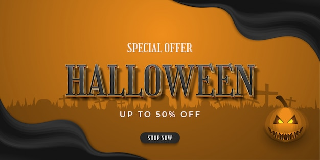 Halloween sale banner with for online shopping with grave background
