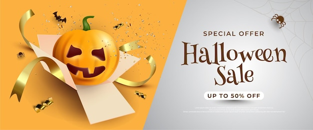 Halloween sale banner with pumpkin lantern out of gift box on yellow background