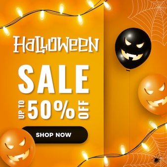 Halloween sale banner with scary halloween air balloons, garland lights on orange