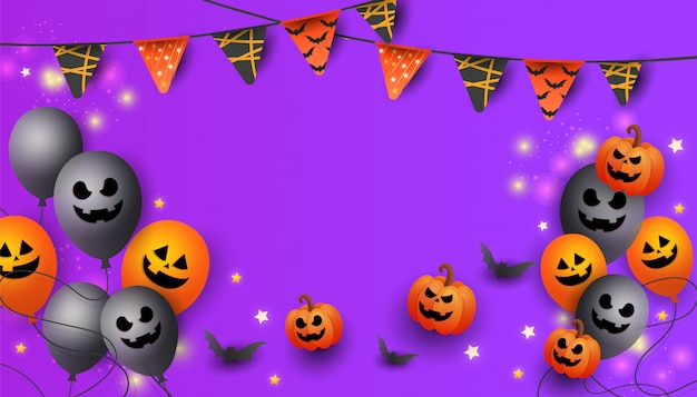 Halloween sale banner with symbols pumpkin, colored garlands and candy