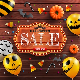 Halloween sale banner with vintage wooden board