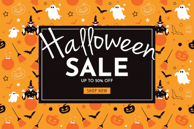 Halloween sale banner with witch, pumpkin, broom, ghost, and bat.