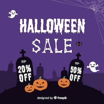 Halloween sale composition with flat design