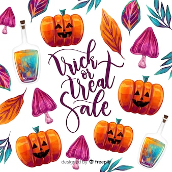 Halloween sale concept in watercolor