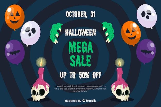 Halloween sale concept with flat design background
