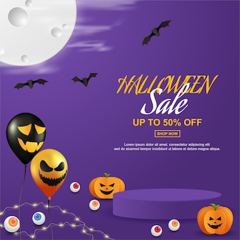 Halloween sale design with podium product display paper cut style