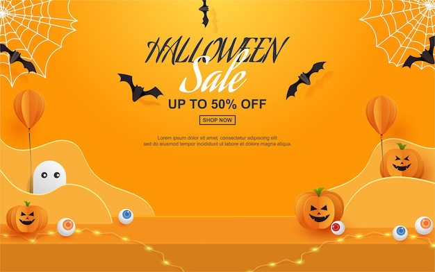 Halloween sale design with product display paper cut style