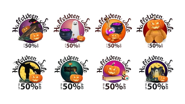 Halloween sale discount round banners with halloween elements isolated