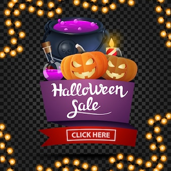 Halloween sale and discount week, discount banner in the form of ribbon with witch's cauldron and pumpkin jack