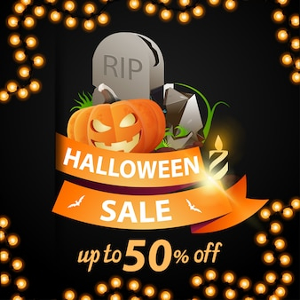 Halloween sale and discount week, discount banner with orange ribbon, up to 50% off, ribbon with tombstone and pumpkin jack