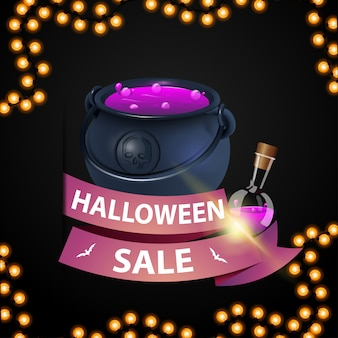 Halloween sale and discount week, discount banner with pink ribbon and witch's cauldron with potion