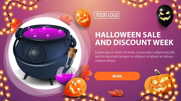 Halloween sale and discount week, horizontal pink discount banner with halloween balloons, pumpkin, garland and witch's cauldron with potion