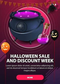 Halloween sale, and discount week, modern pink vertical web banner with button, witch's pot with potion