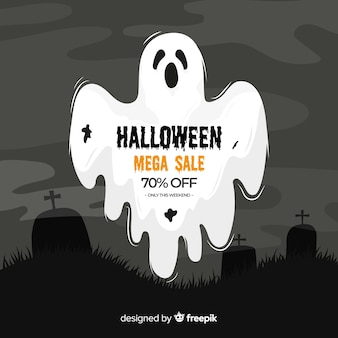 Halloween sale on flat design