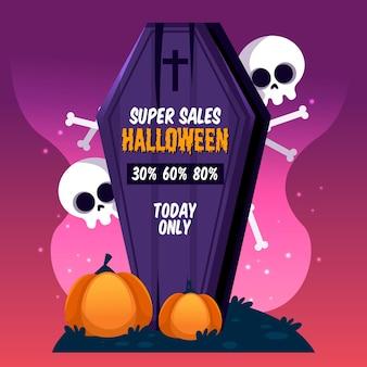 Halloween sale flat design