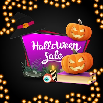 Halloween sale, geometric pink banner in the form of a quadrangular sharp plate with spell book and pumpkin jack