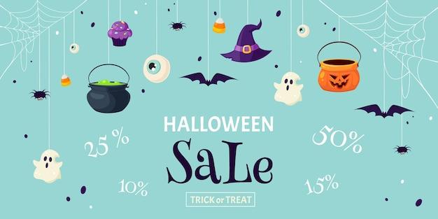 Распродажа на хэллоуин. скидки на хэллоуин. кошелек или жизнь. баннер
