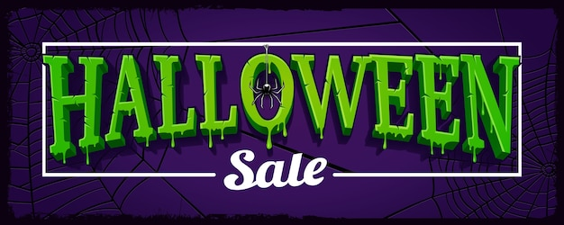 Halloween sale horizontal banner with web of spider on dark background in cartoon style.