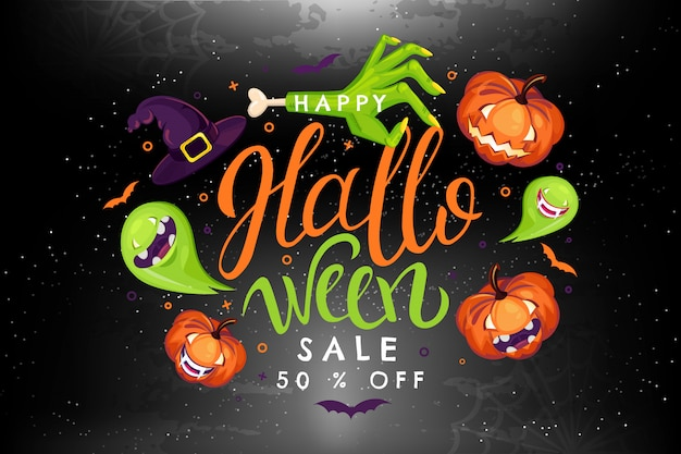 Halloween sale illustration with pumpkin, zombie, witch, ghost, vampire.