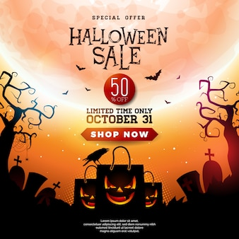 Halloween sale illustration with scary faced shopping bag