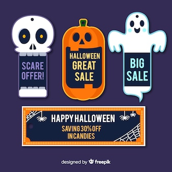 Halloween sale label collection with flat design