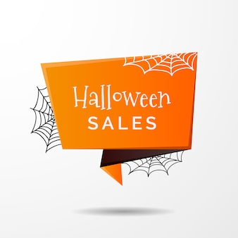 Halloween sale label in origami style