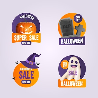 Halloween sale label set