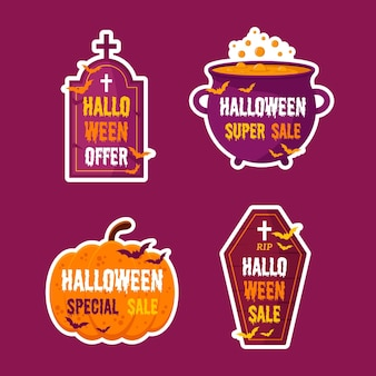 Halloween sale label set