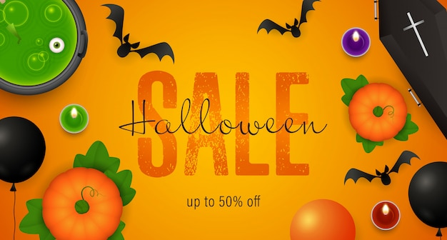 Halloween sale lettering, cauldron with potion, coffin