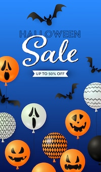 Halloween sale lettering, ghost balloons and bats