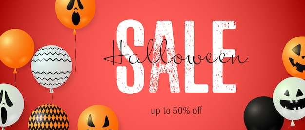 Halloween sale lettering and ghost balloons