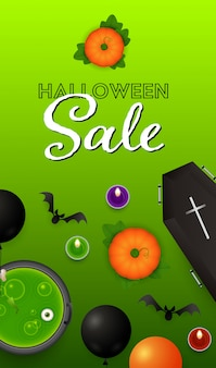 Halloween sale lettering with pumpkins, coffin and potion