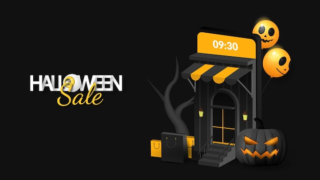 Halloween sale on mobile banner