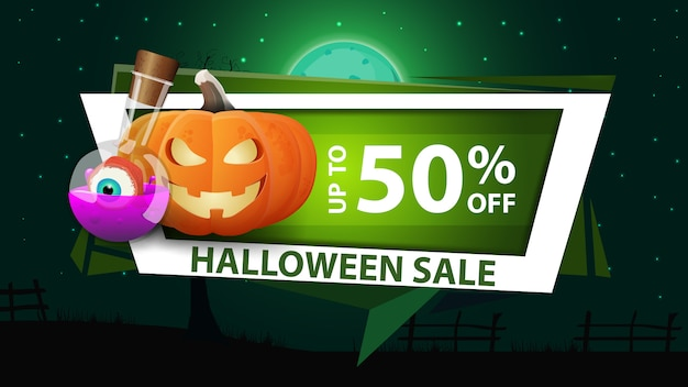 Halloween sale, modern discount green banner in the geometric modern style with pumpkin jack and witch's potion