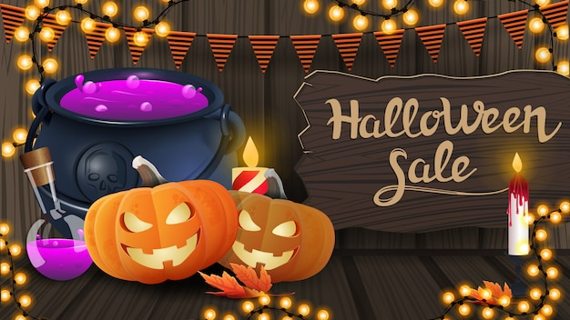 Halloween sale, modern horizontal discount banner with wooden texture, wooden board, garland and witch's pot and pumpkin jack
