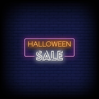 Halloween sale neon signs style text