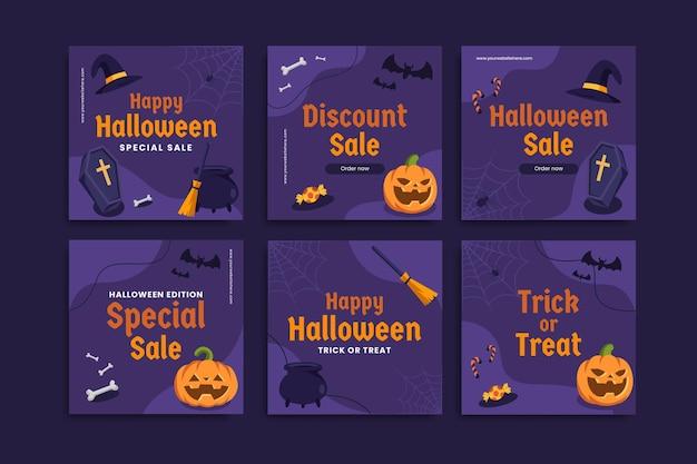 Halloween sale post template set of editable social media creative template instagram sale