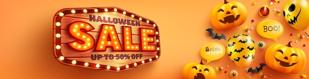 Halloween sale poster and banner template with cute halloween pumpkin,ghost balloons and wood sign on orange background. website spooky,