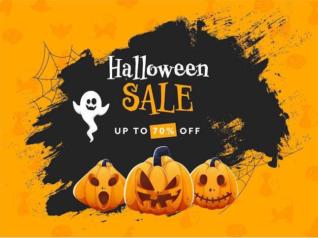 Halloween sale poster design with 70% discount offer,