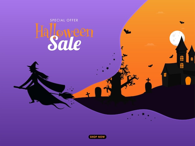 Halloween sale poster design with silhouette witch flying at broom