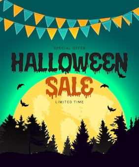 Halloween sale poster with flags and garland on blue background. vector illustration